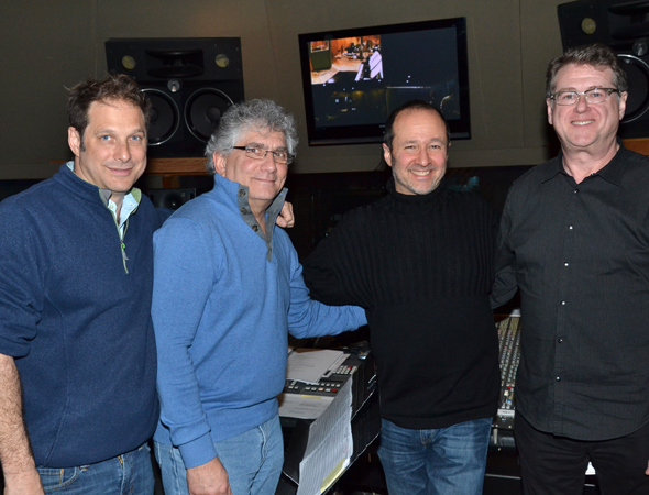 <p>Record producers Kurt Deutsch and Joel Moss join writers Steven Lutvak and Robert L. Freedman in the studio.</p><br />(© David Gordon)