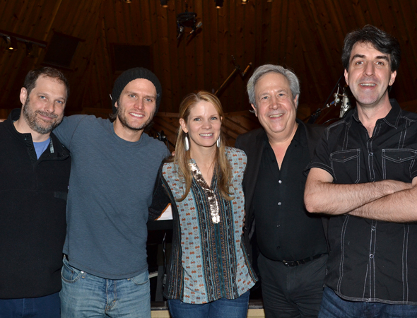 <p>Record producers Kurt Deutsch (left), Jeffrey Lesser (second from right), and Jason Robert Brown share a shot with their stars.</p><br />(© David Gordon)