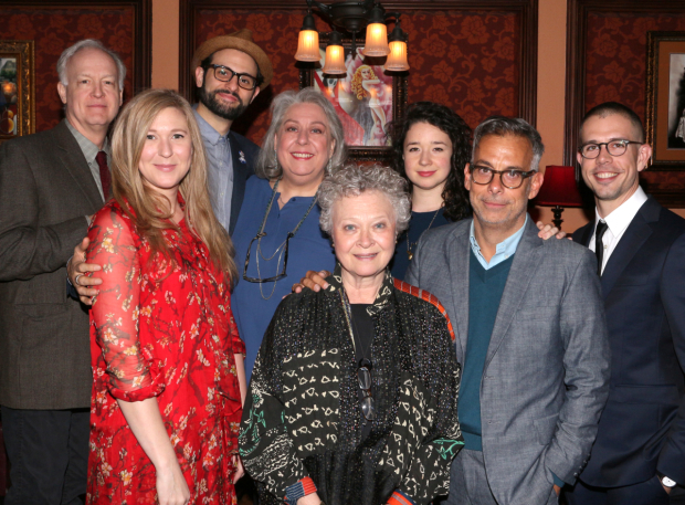 <p>Reed Birney, Cassie Beck, Arian Moayed, Jayne Houdyshell, Lauren Klein, Sarah Steele, Joe Mantello, and Stephen Karam celebrate <em>The Humans</em>.</p><br />(© David Gordon)