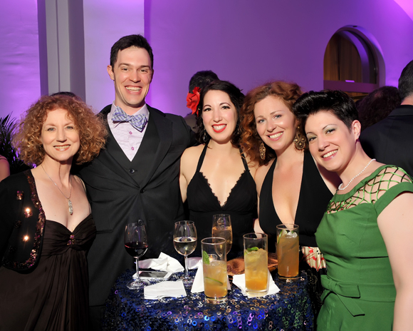 <p>Rena Cherry Brown, James Finley, Jennifer Richter, Katie McManus, and Kari Ginsburg smile for the camera at the Helen Hayes Awards.</p><br />(© Shannon Finney)
