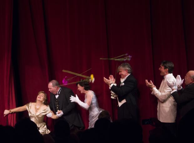 <p>Renée Fleming takes an opera diva&#39&#x3B;s bow as members of the audience toss flowers onstage.</p><br />(© David Gordon)