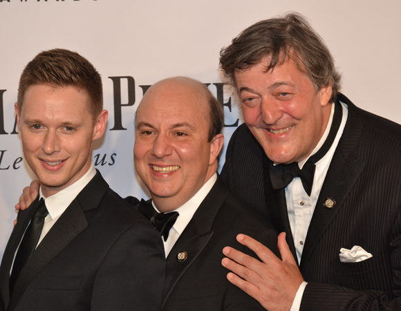 <p>Representing the Shakespeares at this year&#39&#x3B;s Tony Awards are joyful nominees Samuel Barnett, Paul Chahidi, and Stephen Fry.</p><br />(© David Gordon)
