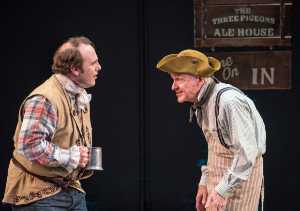 <p>Richard Thieriot and James Prendergast conspire together in a scene from <em>She Stoops to Conquer</em>.</p><br />© Marielle Solan