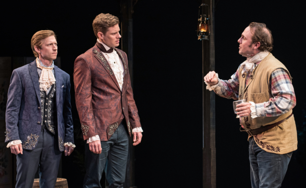 <p>Richard Thieriot (right) plays the perennial prankster Tony Lumpkin opposite Jeremy Beck (left) and Tony Roach.</p><br />© Marielle Solan