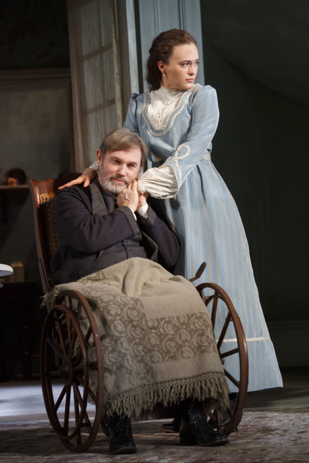<p>Richard Thomas in a scene with Francesca Carpanini, making her Broadway debut.</p><br />(© Joan Marcus)