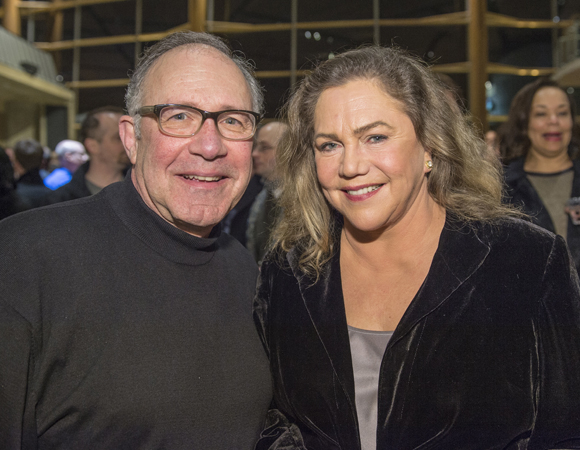 <p>Rick Foucheux, who plays The Chaplain in <em>Mother Courage</em>, poses with the production&#39&#x3B;s star Kathleen Turner on opening night. </p><br />(© Cameron Whitman Photography)