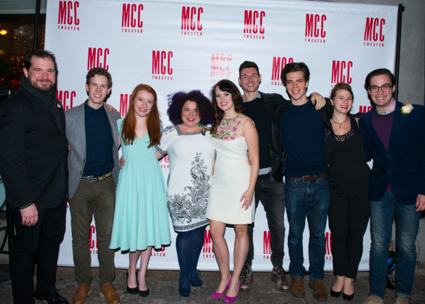 <p><em>Ride the Cyclone</em>&#39&#x3B;s cast celebrates at their opening-night party.</p><br />(© Allison Stock)