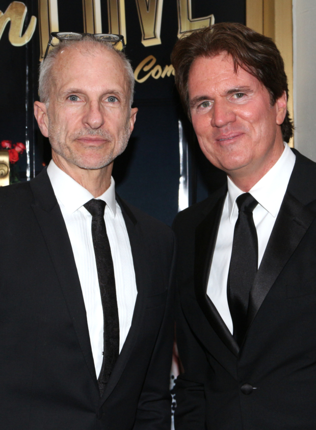 <p>Rob Marshall (right), brother of <em>Living on Love</em> director Kathleen Marshall, gets ready to see his sister&#39&#x3B;s new play with his partner, John DeLuca.</p><br />(© David Gordon)