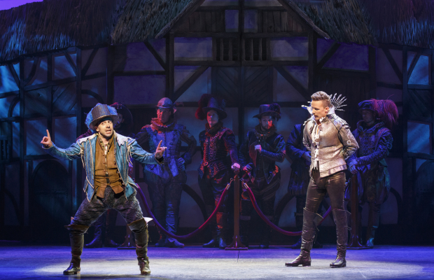 <p>Rob McClure and Will Chase star as playwriting rivals Nick Bottom and William Shakespeare.</p><br />(© Joan Marcus)