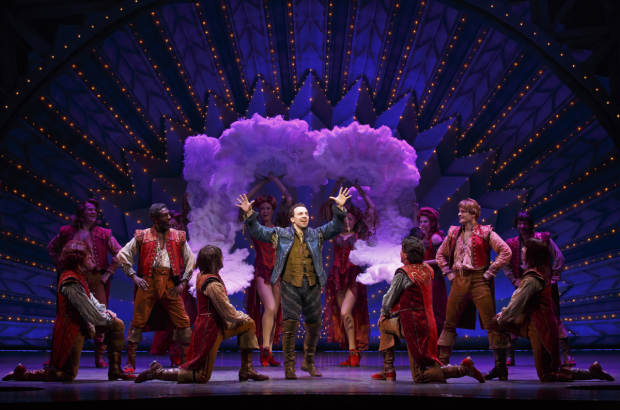 <p>Rob McClure leads the company in a Casey Nicholaw production number.</p><br />(© Joan Marcus)