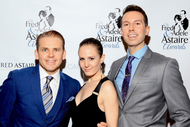 <p>Robert Creighton, who won Outstanding Male Dancer off-Broadway, poses with his <em>Cagney</em> fellow nominees Ellen Zolezzi and Jeremy Benton.</p><br />(© Tricia Baron)