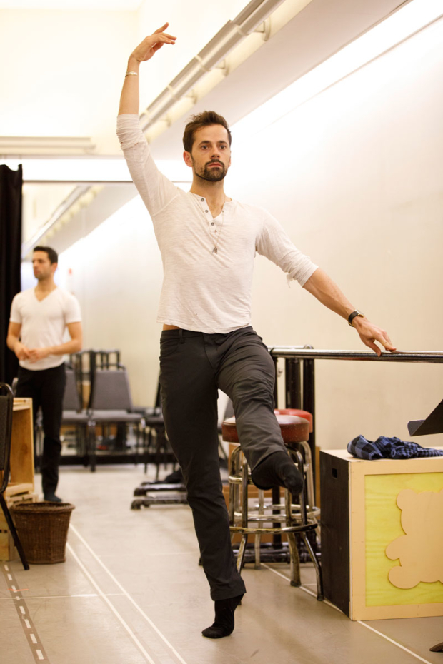 <p>Robert Fairchild warms up in rehearsal.</p><br />(© Joan Marcus)