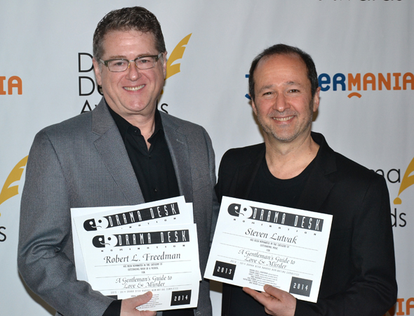 <p>Robert L. Freedman and Steven Lutvak — Outstanding Music and Outstanding Lyrics nominees for <em>A Gentleman&#39&#x3B;s Guide to Love and Murder</em>.</p><br />(© David Gordon)