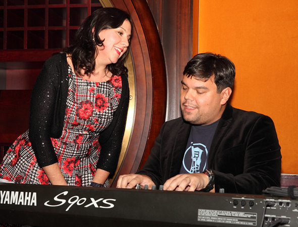 <p>Robert Lopez and Kristen Anderson-Lopez served as the evenings hosts.</p><br />(© Douglas Gorenstein)