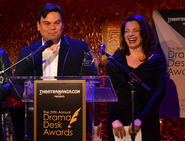 <p>Robert Lopez makes Fran Drescher laugh as he reads the nominations.</p><br />(© David Gordon)