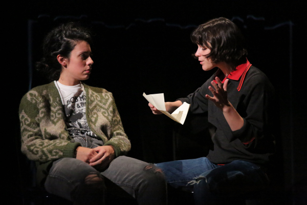 <p>Roberta Colindrez and Alexandra Socha appear in one of <em>Fun Home</em>&#39&#x3B;s serious moments.</p><br />(© Joan Marcus)