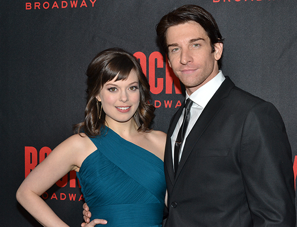 <p><em>Rocky</em> romantic leads Margo Seibert and Andy Karl show off their glamorous opening-night attire.</p><br />(© David Gordon)