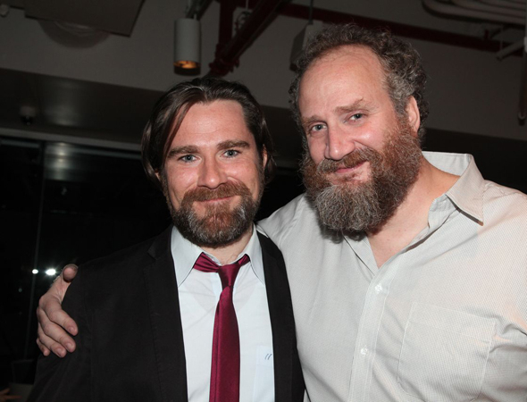 <p>Roger Clark (Duke Theseus) and Brendan Averett (Snug) share a photo on opening night.</p><br />(© Gerry Goodstein)