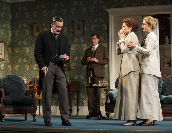 <p>Roger Rees, Michael Cumpsty, Mary Elizabeth Mastrantonio, and Charlotte Parry in <em>The Winslow Boy</em>.</p><br />(© Joan Marcus)
