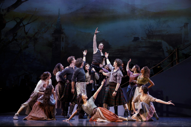 <p>Ross Lekites and the <em>Brigadoon</em> ensemble.</p><br />(© Joan Marcus)
