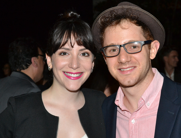 <p>Roundabout acting alum Chris Perfetti (right) shares the evening with his pal Jessica Hershberg. </p><br />(© David Gordon)