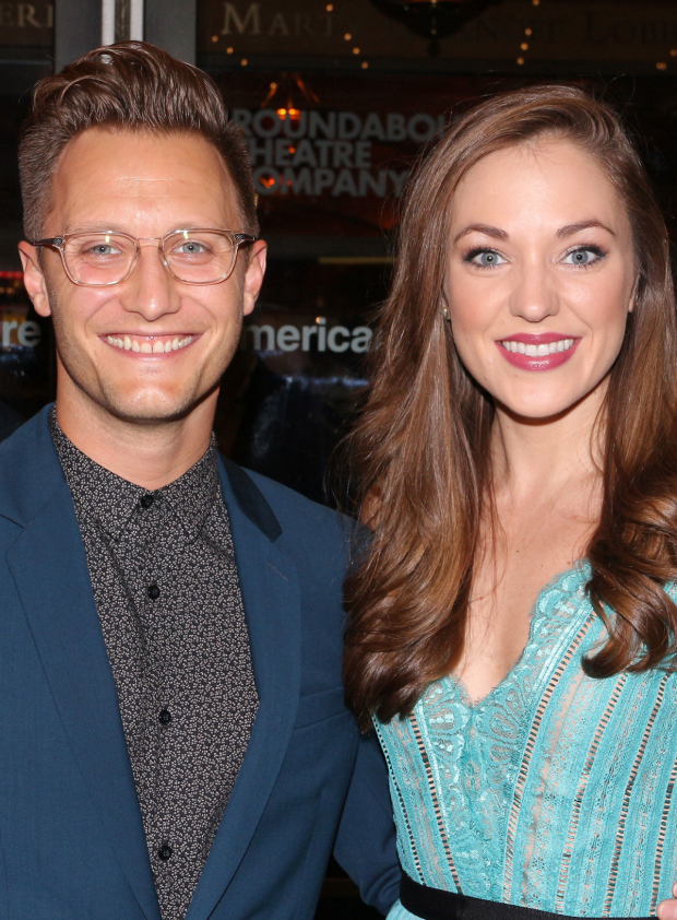 <p>Roundabout vet Laura Osnes and her husband, Nathan Johnson, check out another opening night.</p><br />(© David Gordon)
