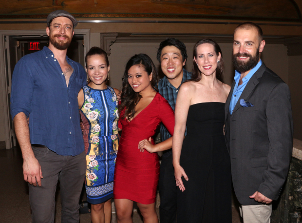 <p>Ryan Andes, Sydney Morton, Renée Albulario, Raymond J. Lee, Miriam Shor, and Charlie Pollock take a commemorative snapshot.</p><br />(© David Gordon)