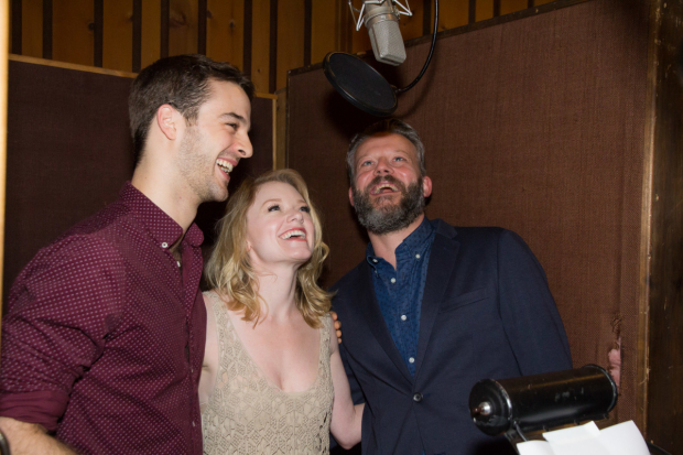 <p>Ryan Vona, Ruby Lewis, and Jeremy Kushnier step up to the mic.</p><br />(© Seth Walters)