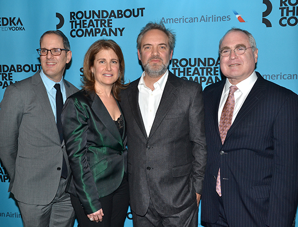 <p>Sam Mendes joins Roundabout head honchos Harold Wolpert, Julia Levy, and Todd Haimes for a group shot.</p><br />(© David Gordon)