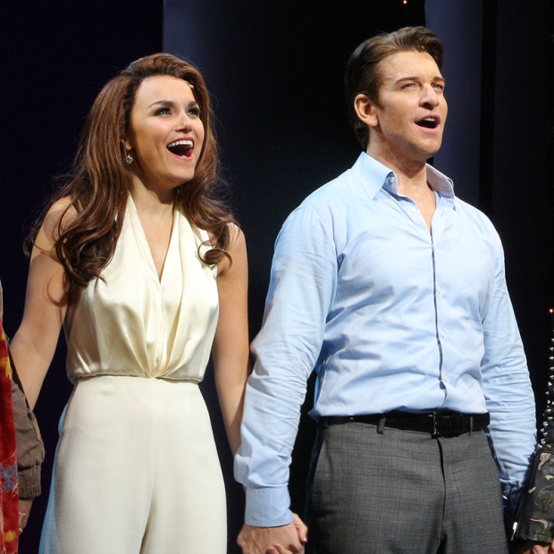<p>Samantha Barks and Andy Karl take the stage for their <em>Pretty Woman</em> curtain call.</p><br />(© David Gordon)