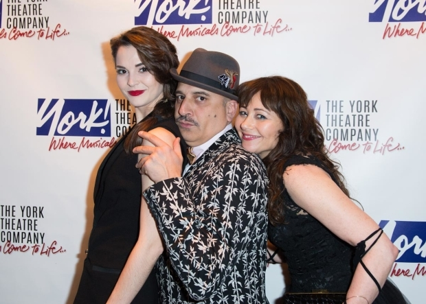 <p>Samantha Bruce, Julian Fleisher, and Frances Ruffelle have a little fun at the York Theater Company Gala.</p><br />(© Allison Stock)