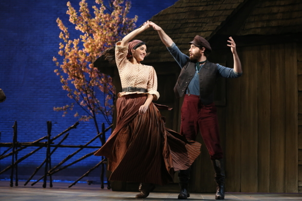<p>Samantha Massell plays Hodel, with Ben Rappaport as Perchick.</p><br />(© Joan Marcus)