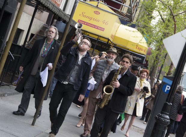 <p>Sammy Miller and the Congregation lead the cast of <em>Airline Highway</em> to the Friedman Theatre.</p>