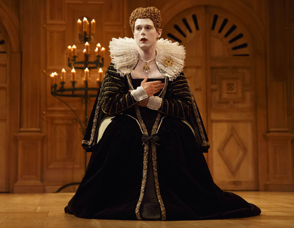 <p>Samuel Barnett as Queen Elizabeth in <em>Richard III</em>.</p><br />(© Joan Marcus)