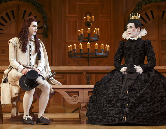 <p>Samuel Barnett is Viola/Cesario to Mark Rylance's Olivia in <em>Twelfth Night</em>.</p><br />(© Joan Marcus)