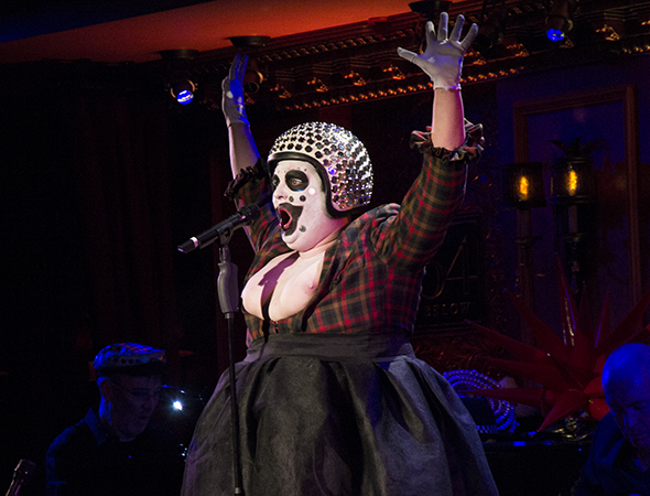 <p>Samuel Buttery (seen here singing <em>Ich Bin Kunst</em>) took on the role of Leigh Bowery, which he first played in <em>Taboo</em>&#39&#x3B;s 2012 revival in London.</p><br />(© David Gordon)