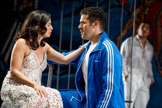 <p>Sandra Delgado reaches out to Joel Perez as Juan Castano looks on.</p><br />(© Joan Marcus)