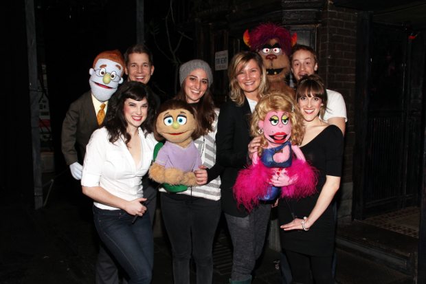 <p>Sara Bareilles and Jennifer Nettles pose with the cast of <em>Avenue Q</em> at New World Stages.</p><br />(© Tristan Fuge)