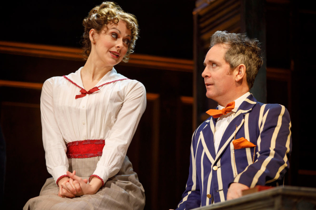 <p>Sara Topham and Tom Hollander share a scene.</p><br />(© Joan Marcus)