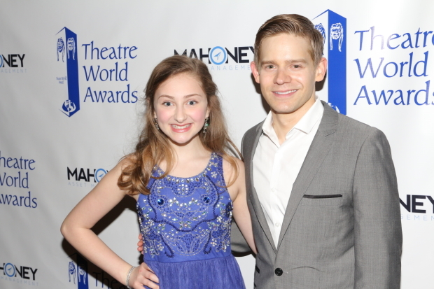 <p>Sarah Charles Lewis celebrates her Theatre World Award with her <em>Tuck Everlasting</em> leading man, Andrew Keenan-Bolger.</p><br />(© David Gordon)