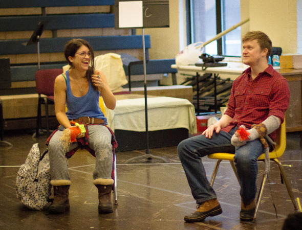 <p>Sarah Stiles and Steven Boyer share a scene in rehearsal for <em>Hand to God</em>.</p><br />(photo courtesy of MCC Theater)