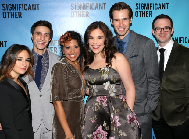 <p>Sas Goldberg, Gideon Glick, Rebecca Naomi Jones, Lindsay Mendez, John Behlmann, and Luke Smith celebrate their opening night in <em>Significant Other</em>.</p><br />(© David Gordon)