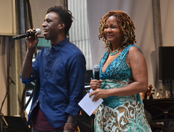 <p>Saul Williams and Tonya Pinkins talk about <em>Holler If Ya Hear Me</em>, in which they both appear.</p><br />(© David Gordon)