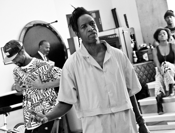 <p>Saul Williams leads the company of <em>Holler If Ya Hear Me</em> as John, an artist recently released from prison.</p><br />(© David Gordon)
