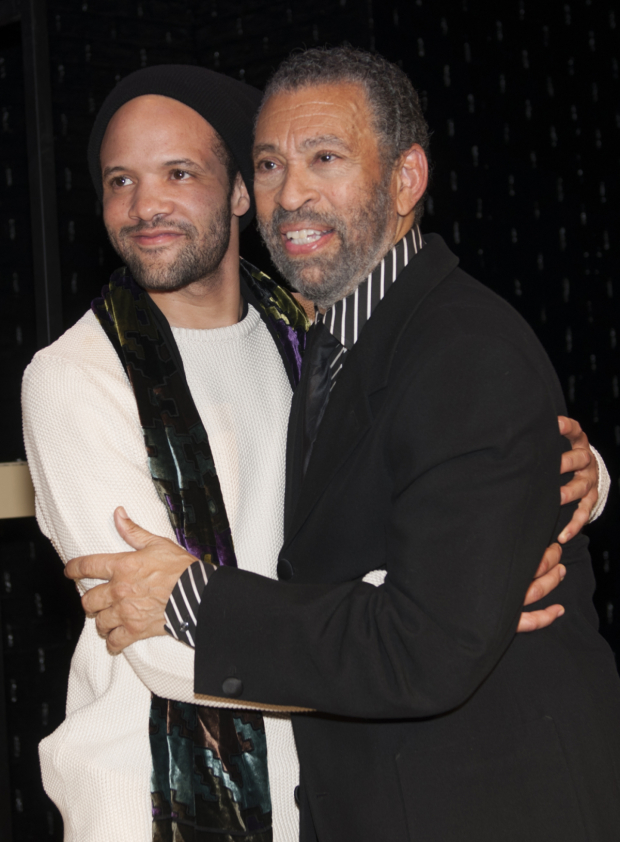 <p>Savion Glover and Maurice Hines catch up after the show.</p><br />(© Allison Stock)