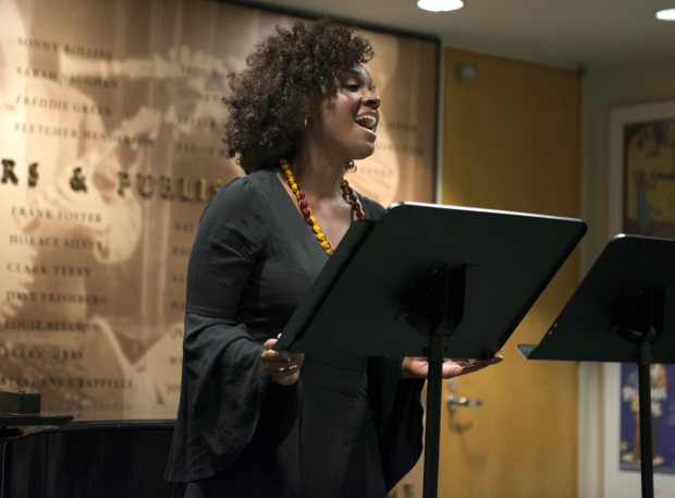 <p>Saycon Sengbloh performs a number from Stacey Luftig&#39&#x3B;s <em>My Heart Is the Drum</em>.</p><br />(© Allison Stock)