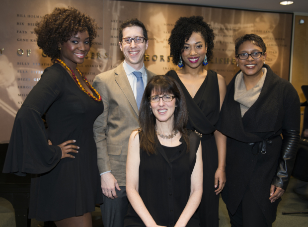 <p>Saycon Sengbloh, Philip Palmer, Joell Weil, and Shelly Williams celebrate the work of Stacey Luftig (seated).</p><br />(© Allison Stock)