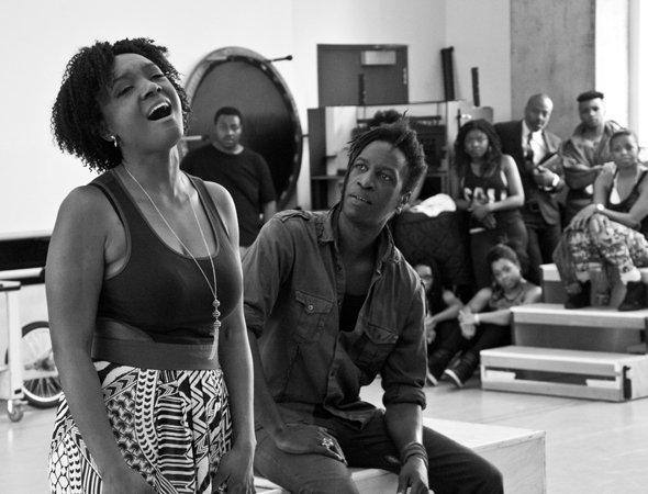 <p>Saycon Sengbloh, who plays love interest Corinne, performs &quot&#x3B;Unconditional Love&quot&#x3B; with Saul Williams.</p><br />(© David Gordon)