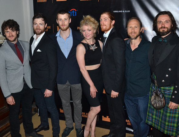 <p>Scarlett Strallen (center) poses with the men of <em>Macbeth</em>.</p><br />(© David Gordon)