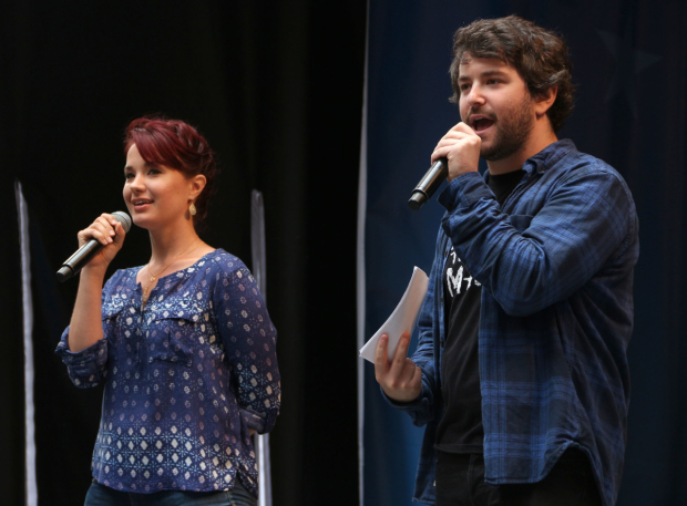 <p><em>School of Rock</em> stars Sierra Boggess and Alex Brightman serve as social media correspondents for Stars in the Alley.</p><br />(© David Gordon)